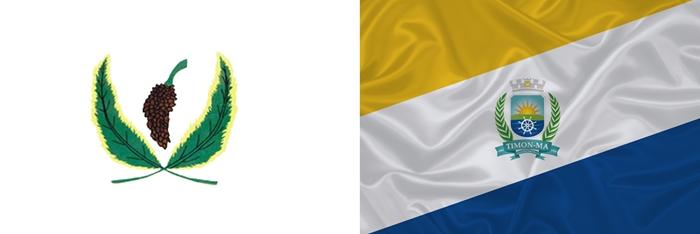 A antiga e nova bandeira de Timon. Foto: Divulgação