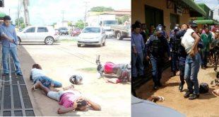 Eles foram presos por um policial a paisana que passava pelo local
